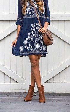 Navy Embroidered dress and cognac booties. Great dress for your fall wardrobe.