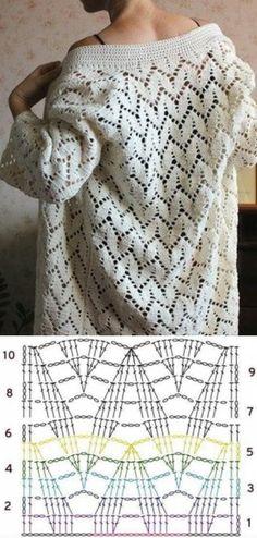 Knitting Patterns Dress Crochet pattern for a lacy design cardigan sweater. Free pattern with chart. Pull Crochet, Gilet Crochet, Crochet Coat, Crochet Motifs, Crochet Cardigan Pattern, Crochet Jacket, Crochet Stitches Patterns, Crochet Diagram, Diy Crochet