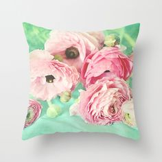 Another time... Throw Pillow Cover by Lisa Argyropoulos (pillow insert available for purchase with cover)   #ranunculus #pink #floral #shabbychic #decor #pretty #pillow