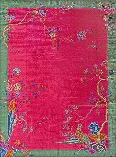 Chinese Art Deco carpet x circa 1930 Chinese Art, Chinese Rugs, Mughal Miniature Paintings, Art Deco Rugs, Pink Themes, Magic Carpet, Chinese Antiques, Eclectic Decor, Chinoiserie