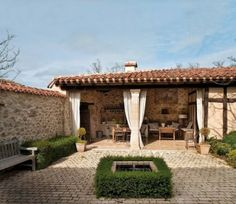 Run away to the dreamy country house located in Spain. This adorable rustic country house that used to be a rural school once is designed by Mikel Larrinaga. Outdoor Curtains, Outdoor Rooms, Outdoor Living, Indoor Outdoor, Spanish Style Homes, Spanish House, Spanish Bungalow, Style Hacienda, Rural House