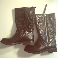 Coach leather boots Mid calf high, black leather coach boots Coach Shoes Combat & Moto Boots