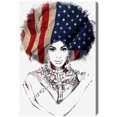 Oliver Gal American Woman Canvas Wall Art ($204) ❤ liked on Polyvore featuring home, home decor, wall art, canvas home decor, canvas wall art, american flag home decor, american home decor and american flag wall art