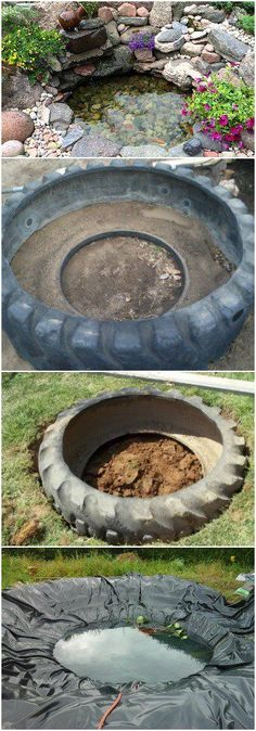 Tutorial to Make a Pond with a Recycled Tire - Flowers, Plants & Planters - Nice and short tutorial to make a pond with a used tire and rocks. All steps and equipment on DIY Tire Projects.