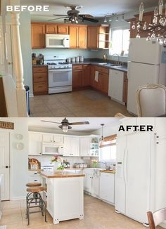 Reveal and tour of a farmhouse style kitchen makeover on a budget. Shows before and after picture, lists sources for all components.