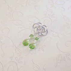 Peridot Green Earrings Silver Pinwheel by CinLynnBoutique on Etsy