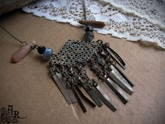 Rustic Vintage Repurposed Necklace with by artefactredux on Etsy, $29.00