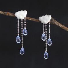 Dangle Earrings – cloud rain crystal silver Dangle earrings silver – a unique product by TO_Design on DaWanda