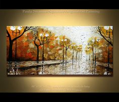"Rainy Day in the park  Oil Painting Heavy Palette Knife Texture Original by Paula Nizamas 48"" x 24"" ready to hang"