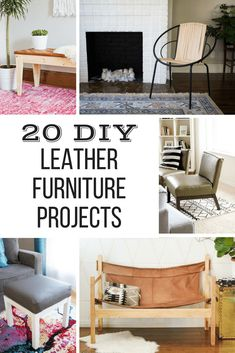 Looking to add some luxurious leather to your home decor, without the hefty price tag? These 20 DIY leather projects are simple enough for the average do-it-yourselfer, and are a lot less expensive than buying leather furniture at the store! Get inspired with these DIY leather furniture ideas, from ottomans to benches to chairs! #leather #DIYfurniture #DIYhomedecor via @handymansdaught