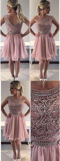 Sale Comfortable Homecoming Dress Chiffon A-line Scoop Neck Beaded Bodice Chiffon Skirt Homecoming Dresses Dresses Short, Dance Dresses, Sexy Dresses, Beautiful Dresses, Prom Dresses, Wedding Dresses, Graduation Dresses, Amazing Dresses, Quinceanera Dresses