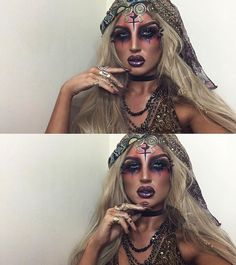 25 unique Halloween make-up ideas to try out, # trying on . 25 unique Halloween makeup i Looks Halloween, Unique Halloween Makeup, Unique Halloween Costumes, Halloween Outfits, Unique Makeup, Natural Makeup, Voodoo Halloween Makeup, Costume Ideas, Joker Halloween