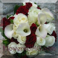 This bouquet is made up of the most classic of wedding flowers. Roses in red and white with white calla. The lushness and soft lines are perfect.