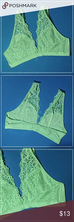 Beautiful Lace Bralette Unlined, washed but Never Worn. Pretty and Feminine! Mint Green color. Adjustable straps, double clasp closure adjusts to 3 sizes.  Fits me at 36C and can fit a D cup. Intimates & Sleepwear Bras