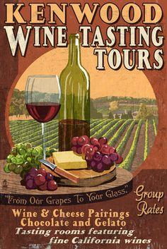 Kenwood, California - Wine Tour Vintage Sign - Lantern Press