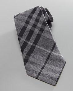 Check Herringbone Tie, Gray  by Burberry at Neiman Marcus.