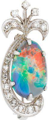 Opal, Diamond, White Gold Pendant-Brooch