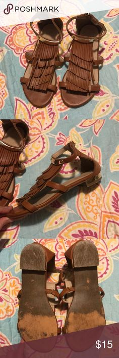 Tan sandals Tan sandals with fringe and gold hardware. Good condition! palms Shoes Sandals