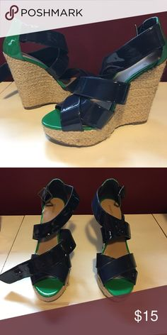 Wedges- Navy and Green Never worn, navy and green wedges. Perfect for summer! Xhilaration Shoes Wedges