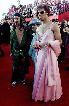 The creators of South Park, Trey Parker & Mark Stone at the Oscars in 2000 (Parodying the famous outfits J.Lo and Gwyneth Paltrow)