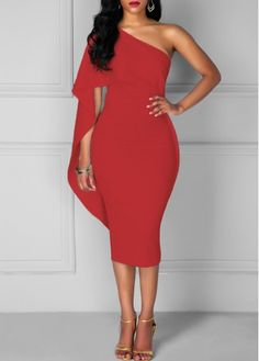 Red One Shoulder Batwing Sleeve Sheath Bodycon Midi Party Club Dress, high quality and better service, don't miss.