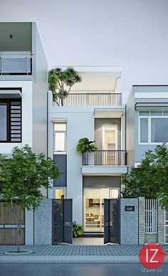 Narrow House Designs, Modern Small House Design, Minimalist House Design, Tiny House Design, Modern Minimalist, Facade Design, Exterior Design, Architecture Design, Street House