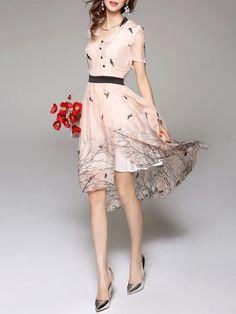 Apricot Printed Asymmetrical Silk Casual Midi Dress