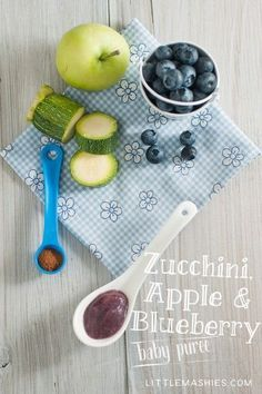 Baby food, puree recipe - Apple Blueberry Zucchini and Cinnamon puree from Little Mashies. I love the reusable food pouches.
