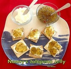 Nanny's Jalapeno Pepper Jelly - A great party pleaser! Serve on crackers with cream cheese or have with cold cuts. Yummy!  Lovefoodies