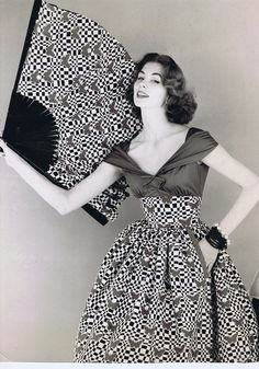 Suzy Parker wearing a dress by Horrockses., 1950s. Photo by Henry Clarke.