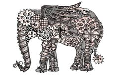 Zentangle Steampunk Elephant