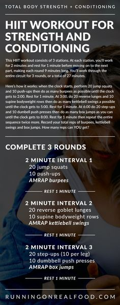 This fun AMRAP and HIIT Workout for Strength and Conditioning flies by so fast you'll be done before you know it and will have put a ton of work in. It's a 26 minute circuit workout that consists of 3 stations where you'll perform 2 minute work intervals and 1 minute rest intervals. How many reps can YOU get?