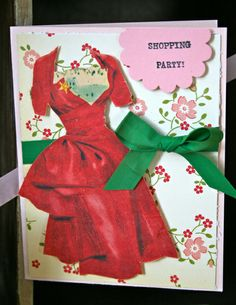 "Red ""Shopping Party"" Dress Card"