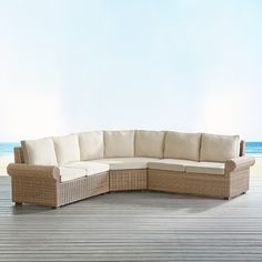 Echo Beach Sand Roll Arm 3-Piece Sectional Natural