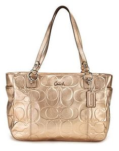 Coach Signature Embossed Large Gallery Bag Purse Tote 17730 Metallic Gold