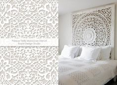 White on white decorating with the Palace Trellis stencil from Royal Design Studio