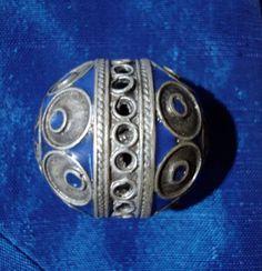 Blue and silver enamel Moroccan bead by HilarysBazaar on Etsy, $6.50