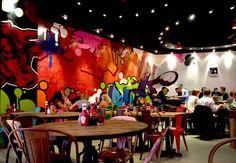 Restaurant graffiti interior feature wall
