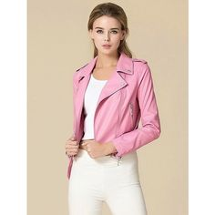Choies Baby Pink Leather Biker Jacket ($92) ❤ liked on Polyvore featuring outerwear, jackets, pink, motorcycle jacket, real leather jacket, leather motorcycle jacket, leather biker jacket and rider jacket