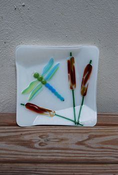 Fused Glass Dragonfly Dragonflies Bowl Cat Tails by Bigdogpots