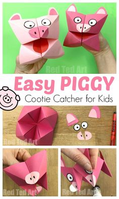 Pig Cootie Catcher Craft 2019 Pig Cootie Catcher Craft for Kids. Easy Paper Pig Crafts for Kids. How to make a Cootie Catcher step by step. Fortune Tellers The post Pig Cootie Catcher Craft 2019 appeared first on Paper ideas. Easy Arts And Crafts, Paper Crafts For Kids, Crafts For Kids To Make, Easy Diy Crafts, Arts And Crafts Supplies, Art For Kids, Simple Crafts, Handmade Crafts, Pig Crafts