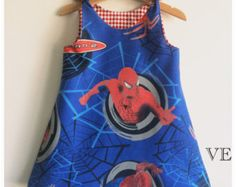 Girl baby toddler dress Vintage Spiderman A line dress LAST ONE