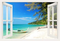 3D window wall decal BOAT on a BEACH wall decal, for living room,bedroom,office, vinyl stickers,vinyl decal, 3d decal