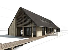 Nice non-realistic but sophisticated style - SketchFX - FluidInteractive Forums Arch House, Timber Architecture, Architecture Design, Villa, Shed Homes, Shed Design, House In The Woods, Modern Farmhouse, House Plans