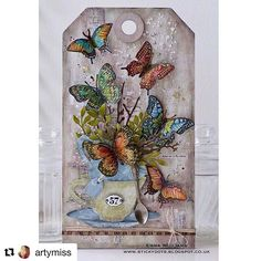 Emma used the new Flutter stamp from @tim_holtz and @stampersanonymous to create this fun piece!  @artymiss ・・・ It's time for a brand new @simonsaysstamp Monday Challenge and this week our theme is all about THINGS WITH WINGS! If you pop over to my blog then you can check out how I used a combination of @tim_holtz products to decorate my butterfly Etcetera tag... #sssmchallenge #tim_holtz #stampersanonymous #sizzix #mixedmedia #simonsaysstamp #butterflies