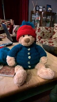 Bear bought for £1.50 in a charity shop. Took him home and made him a hat, jumper and shorts, now he's worth a lot more.