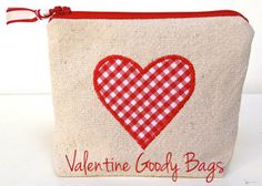 "Valentine Goody Bags to Sew - Free Tutorial by Jaime Costiglio of ""That's My Letter""  + Free Fusible Applique Video Tutorial #sewing #dropclothcrafts"