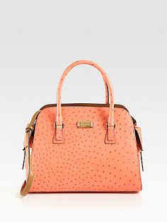 For my mom - loves ostrich, loves satchels, love Michael! | Michael Kors Gia Ostrich Stamped Leather Satchel