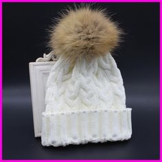 Which in shower Real Raccoon Fur Pompom Winter Hat Women Cable Knitted  Beanie With Fur Pom Pom Ball Big Pompon Thick Female Cap 958d03946b1b