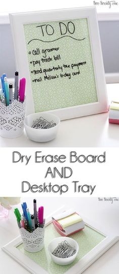 Nab some craft paper and a frame to make this desktop tray/dry erase board. A quick and easy way to stay organized!